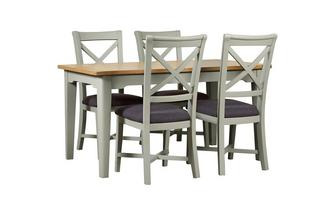 Small Rectangular Extending Table & Set of 4 Cross Back Chairs Harbour