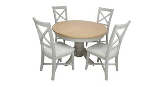 Harbour Round Extending Table & Set of 4 Cross Back Chairs
