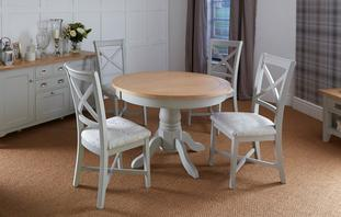 Harbour Round Extending Table & Set of 4 Cross Back Chairs Harbour