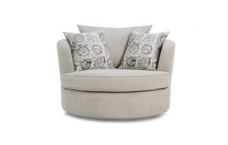 Large Swivel Chair with Pattern Scatters Plaza