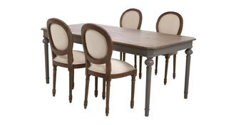 Heirloom Rectangular Extending Table & Set of 4 Ornate Balloon Back Chairs