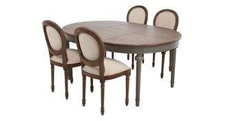 Heirloom Round Extending Table & Set of 4 Ornate Balloon Back Chairs