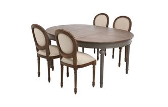 Round Extending Table & Set of 4 Ornate Balloon Back Chairs Heirloom
