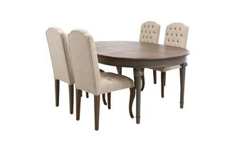 Round Extending Table & Set of 4 Baroque Button Back Chairs