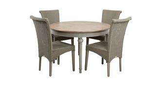 Heirloom Round Extending Table & Set of 4 Zany Chairs