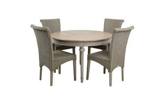 Round Extending Table & Set of 4 Zany Chairs Heirloom