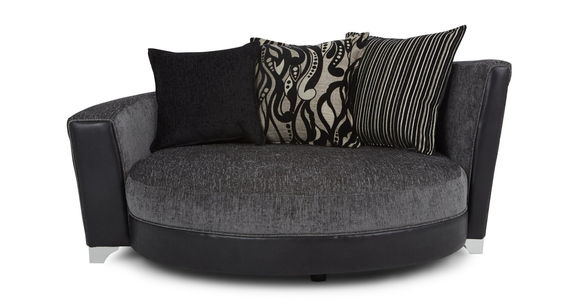 Dfs Helix Charcoal Black Fabric 4 Seater Cuddler Swivel