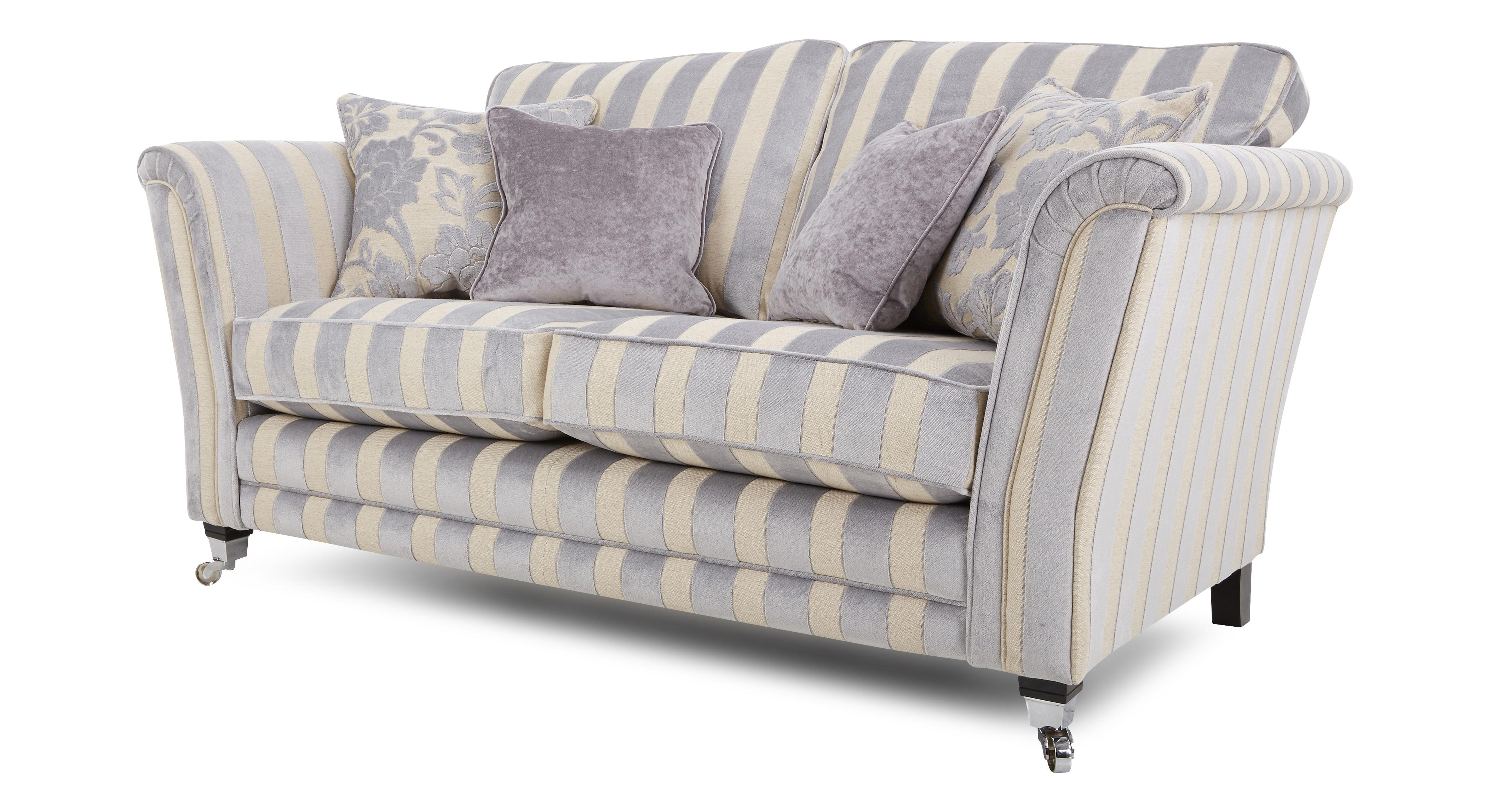 Dfs Silver Fabric Hogarth Sofa Set Inc Stripe 2 Seater