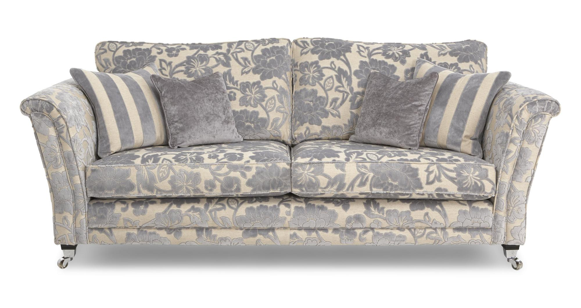 Dfs hogarth silver floral fabric 4 seater sofa ebay for Floral sofa bed