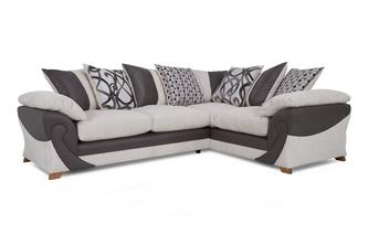Left Hand Facing 2 Seater Pillow Back Corner Sofa Illusion