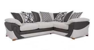 Illusion Left Hand Facing 2 Seater Pillow Back Corner Deluxe Sofabed