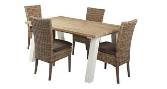Juliette Small Fixed Table & Set of 4 Rattan Chairs