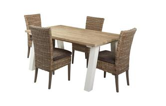 Small Fixed Table & Set of 4 Rattan Chairs Juliette
