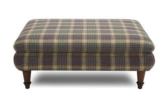 Large Fixed Cover Plaid Footstool