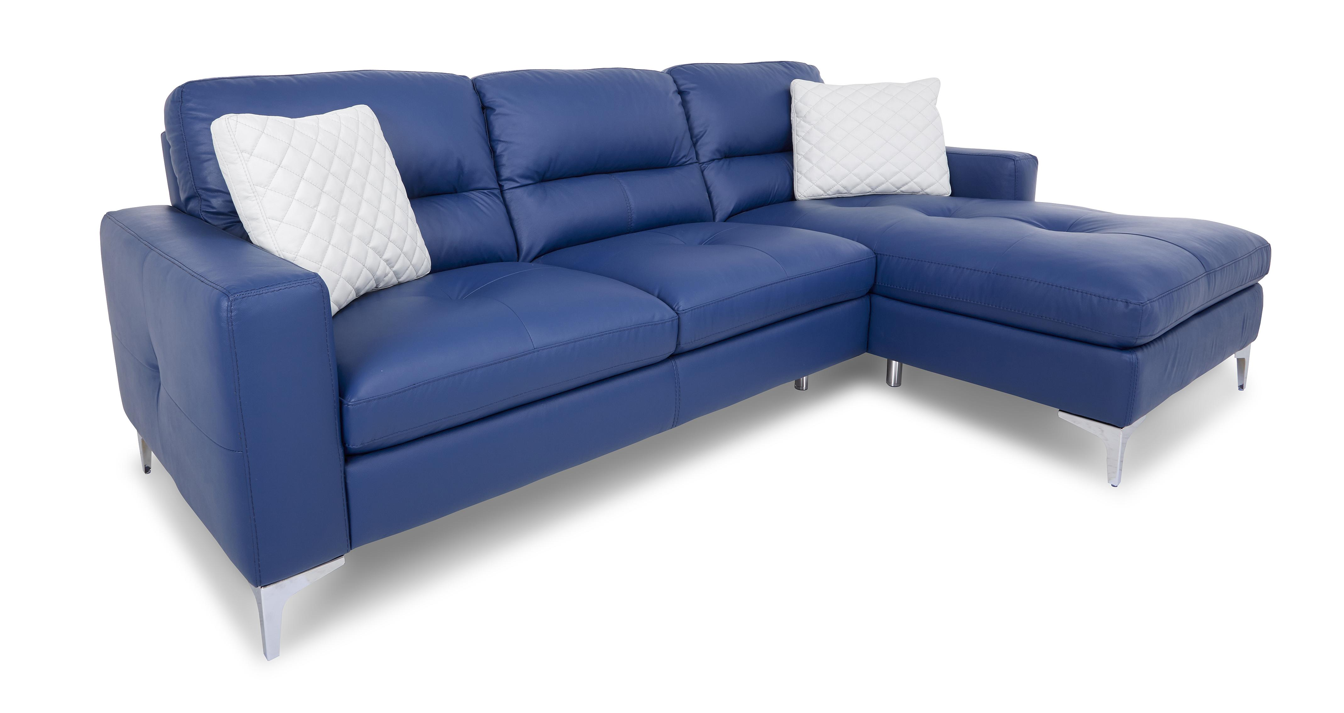 DFS Klein Blue Leather Sofa Set Inc Chaise, Chair, Swivel Chair & 2x  Footstools