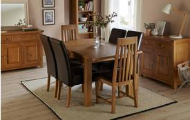 Lincoln Small Extending Table & Set of 4 Ariana Light Leg Chairs Lincoln Oak