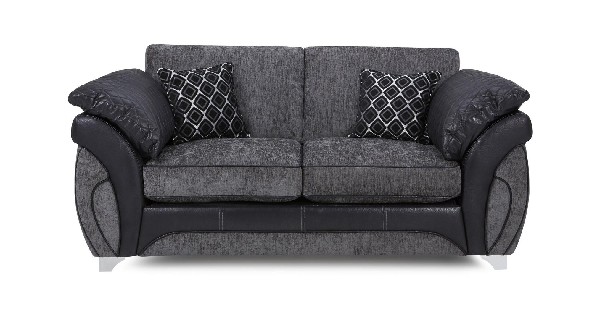 Dfs Luna Charcoal Black Fabric Large 2 Seater Deluxe Sofa