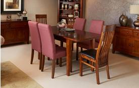 Lyon Small Extending Table & Set of 4 Mulberry Chairs Lyon Dark Birch