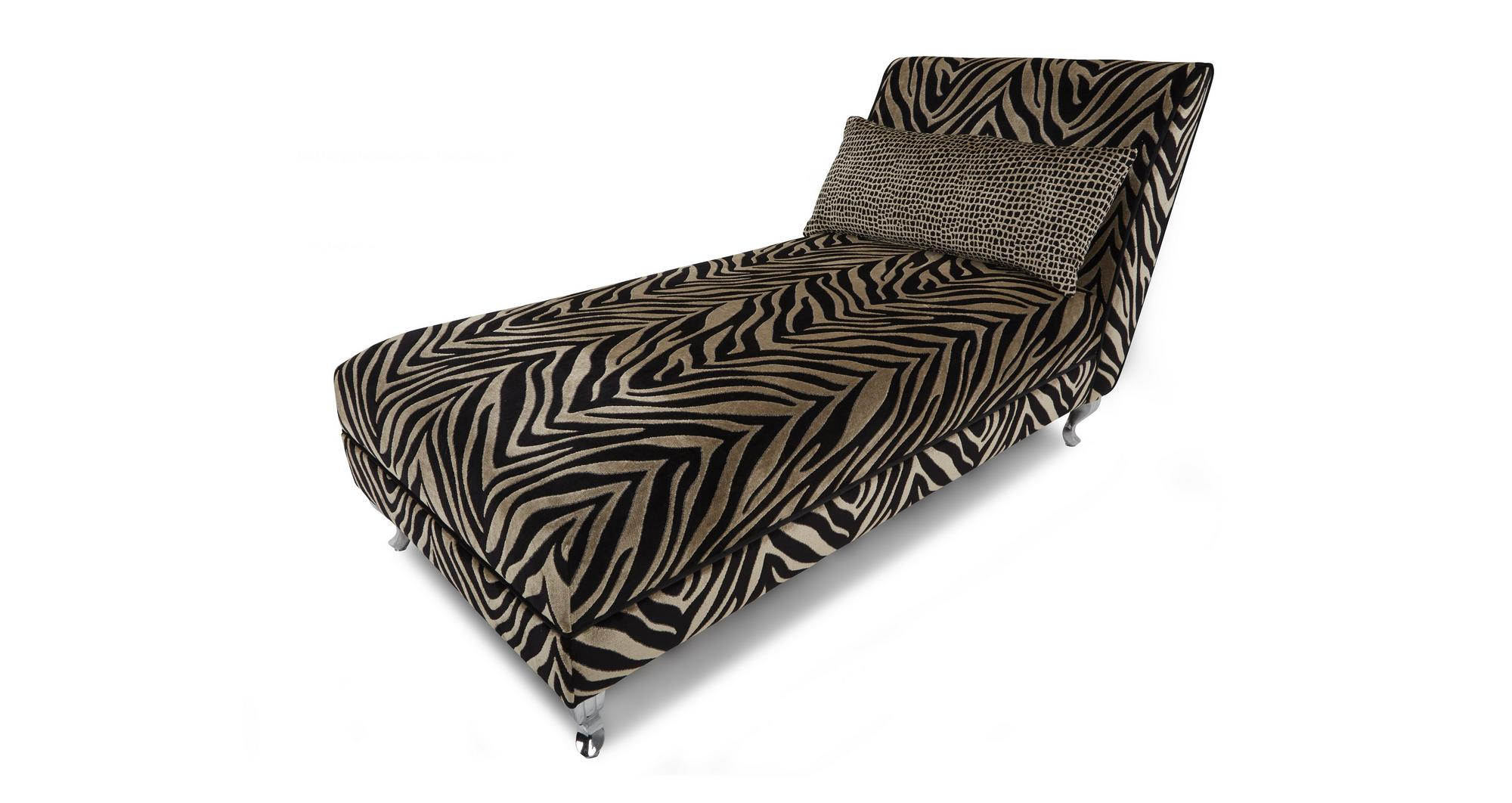 Dfs madagascar gold combinationtiger pattern fabric chaise for Chaise longue dfs