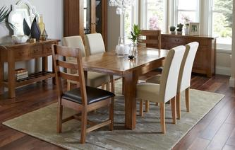 Maison Small Extending Table and Set of 4 Upholstered Chairs Maison Chestnut
