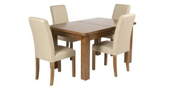 Maison Large Extending Table and Set of 4 Upholstered Chairs