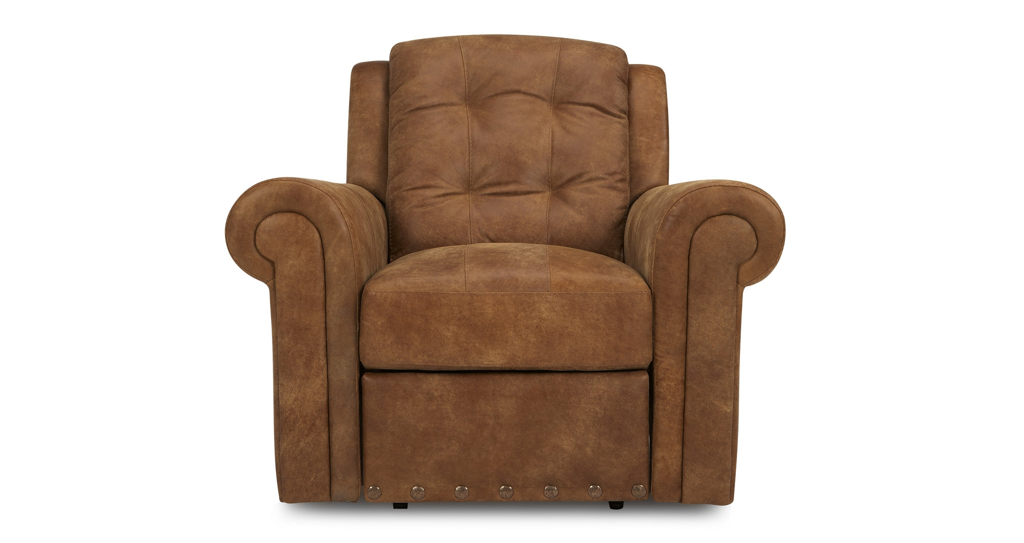DFS MAJESTY TAN RANCH ARM CHAIR MANUAL RECLINER LEATHER ...