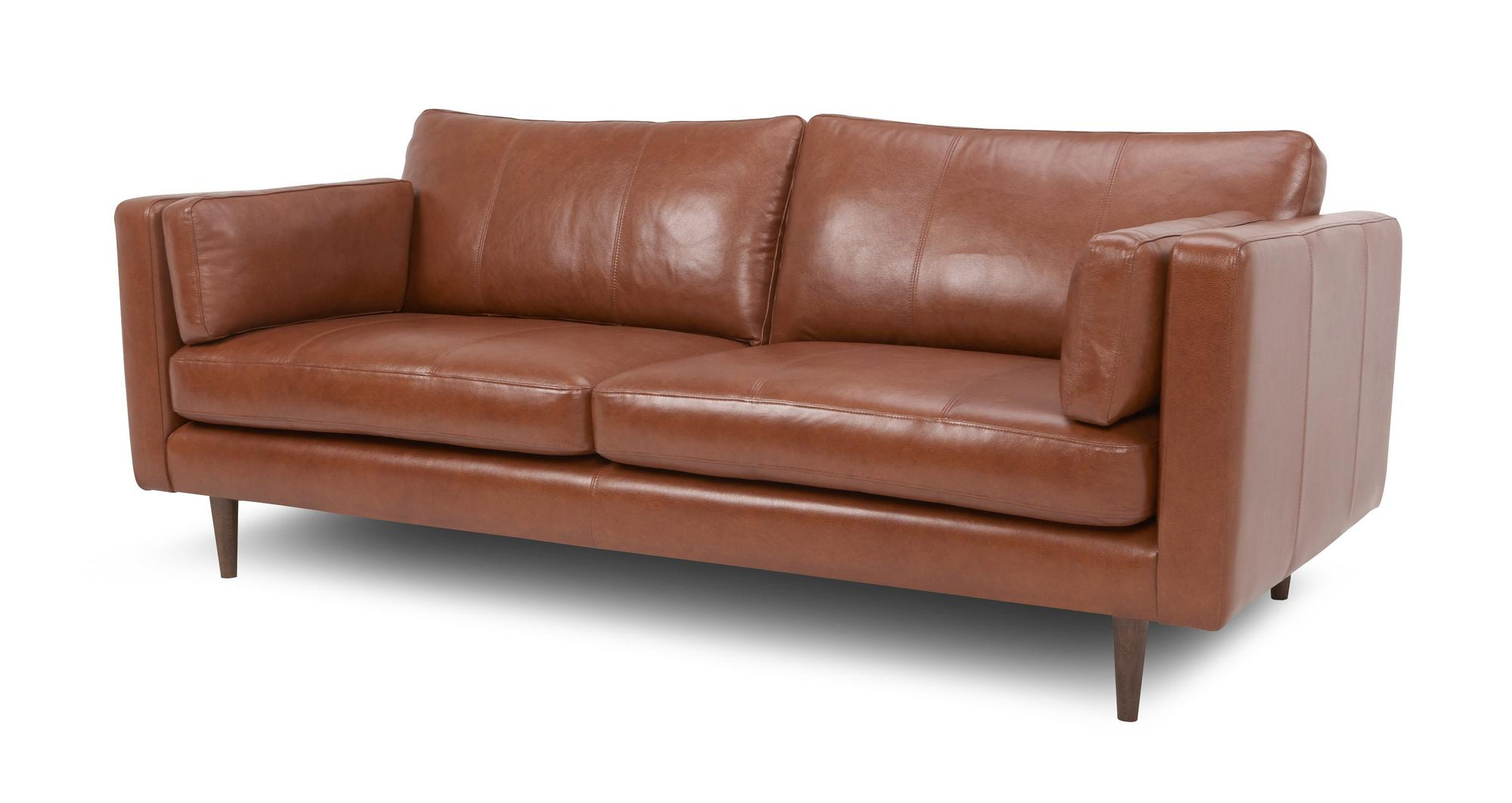 Dfs marl tan 100 leather large sofa small sofa cuddler for Small sectional sofa with cuddler