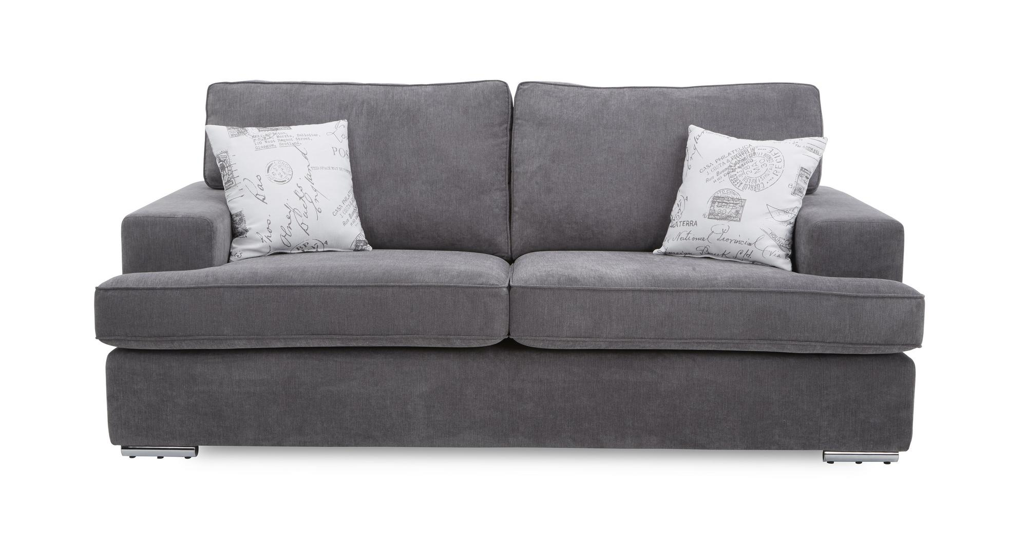 Dfs merit graphite grey fabric 3 seater sofa ebay for Custom made sofas uk