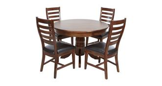 Merlot Round Extending Table & Set of 4 Ladderback Chairs