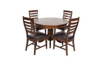Round Extending Table & Set of 4 Ladderback Chairs Merlot