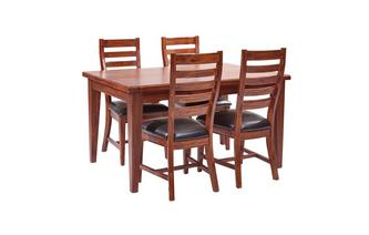 Rectangular Extending Table & Set of 4 Ladderback Chairs Merlot