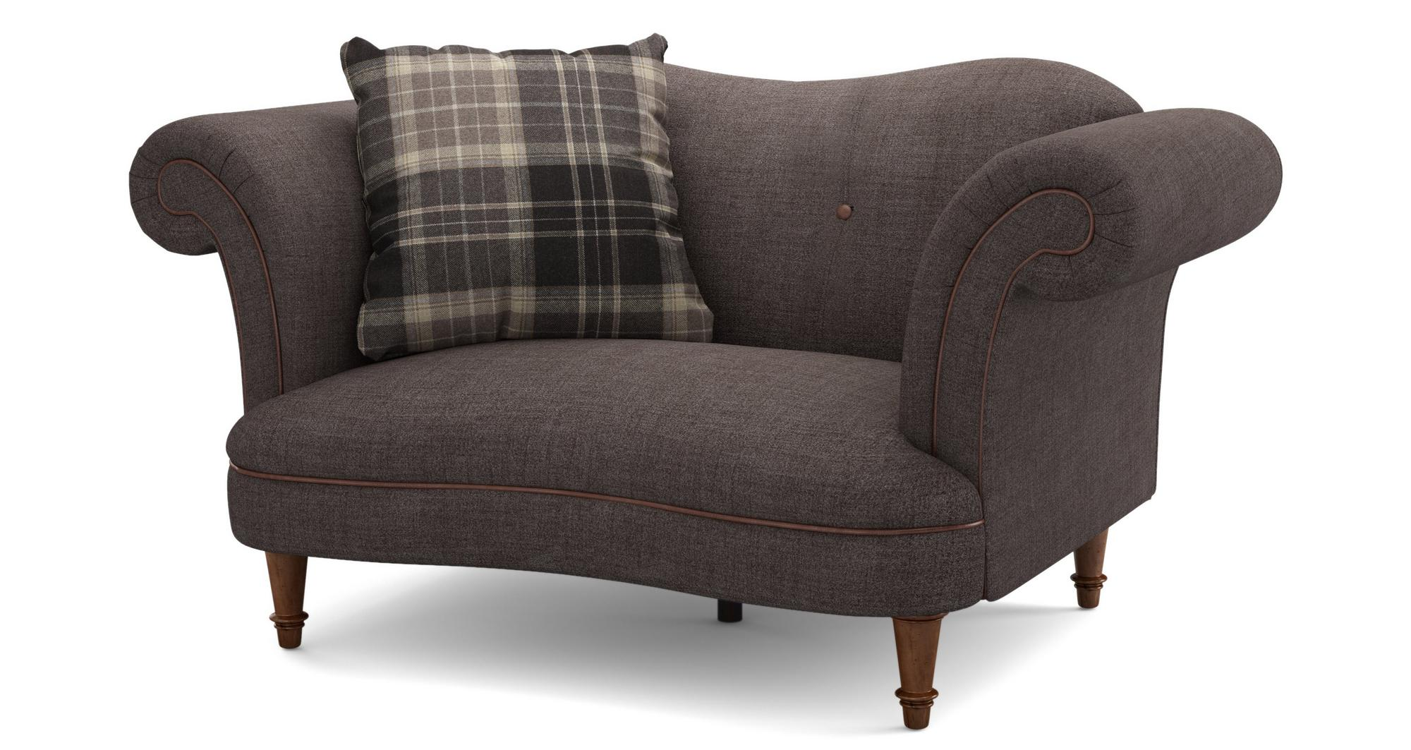 Dfs moray chocolate brown plain fabric 4 seater sofa cuddler stool Dfs 4 seater leather sofa
