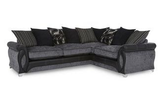 Left Hand Facing 3 Seater Pillow Back Corner Deluxe Sofa Bed Myriad