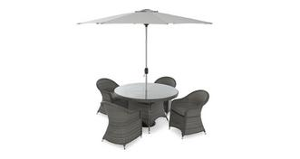 Napa Table & 4 Chairs with Parasol & Base