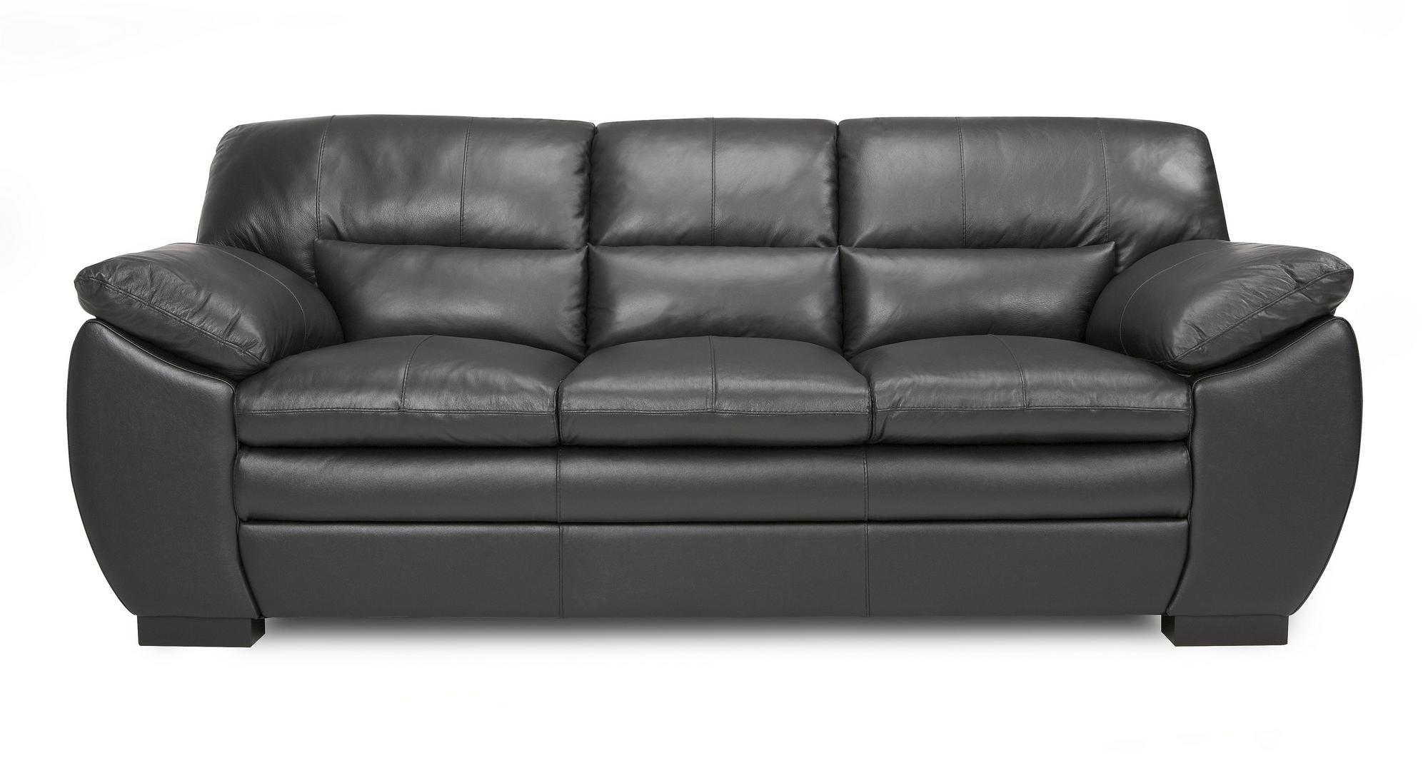 Dfs New Force Black Leather 3 Seater Sofa
