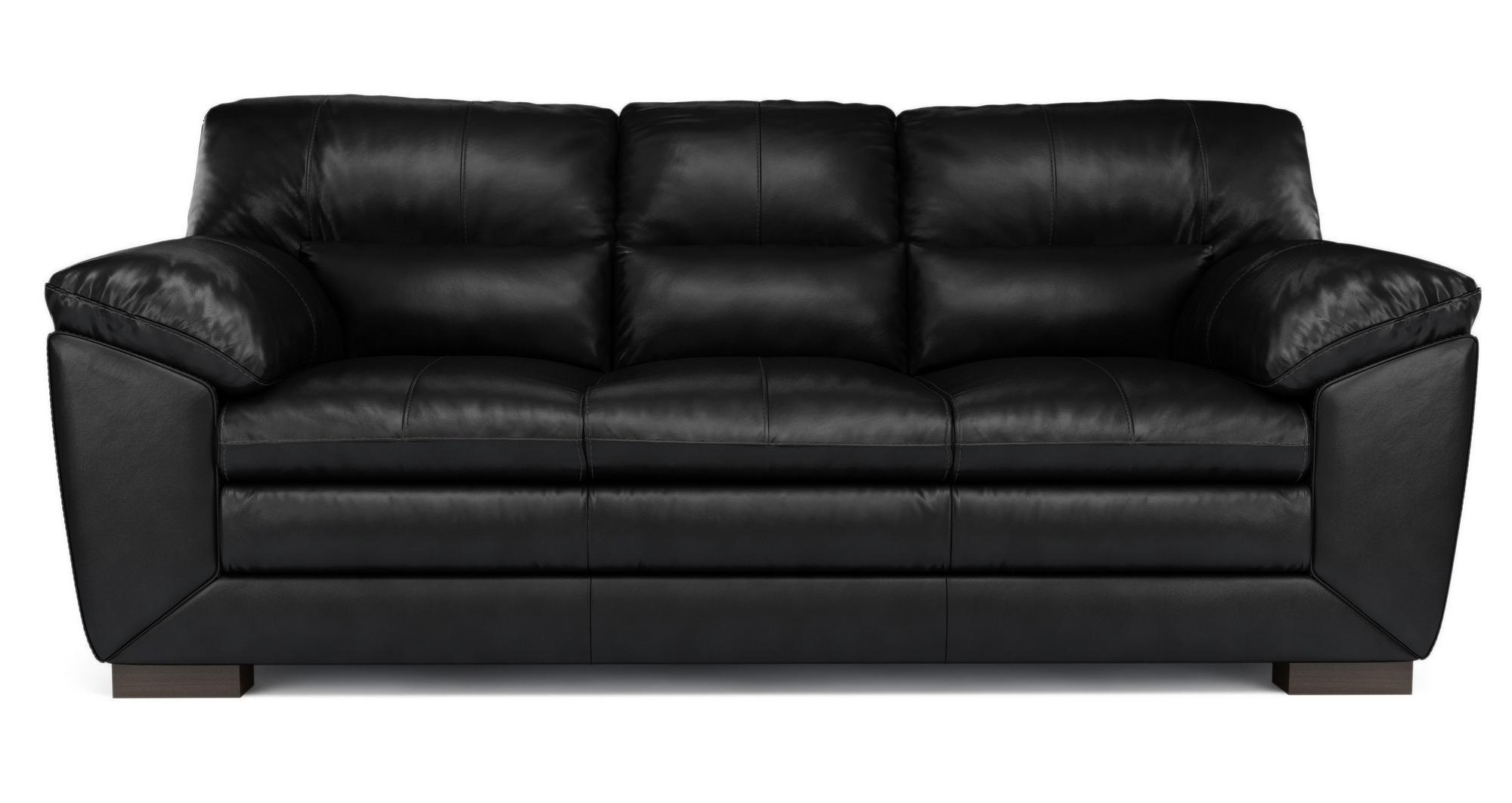 Dfs New Valiant Black Leather 3 Seater Sofa Ebay
