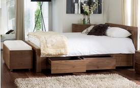 Notch Double (4ft 6) Bedframe with Drawers Walnut Veneer