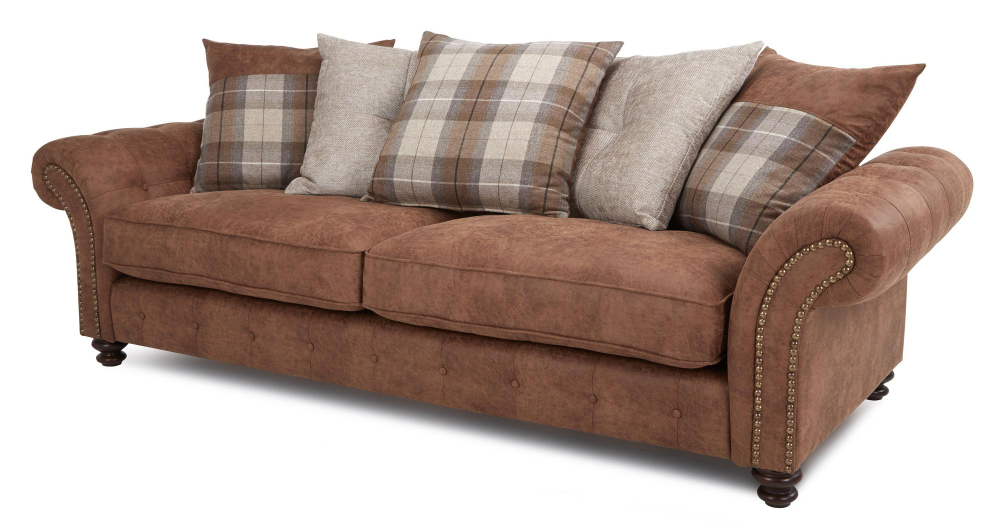 Dfs Oakland Brown Fabric 4 Seater Pillow Back Sofa 2 Seater Chair Set Ebay