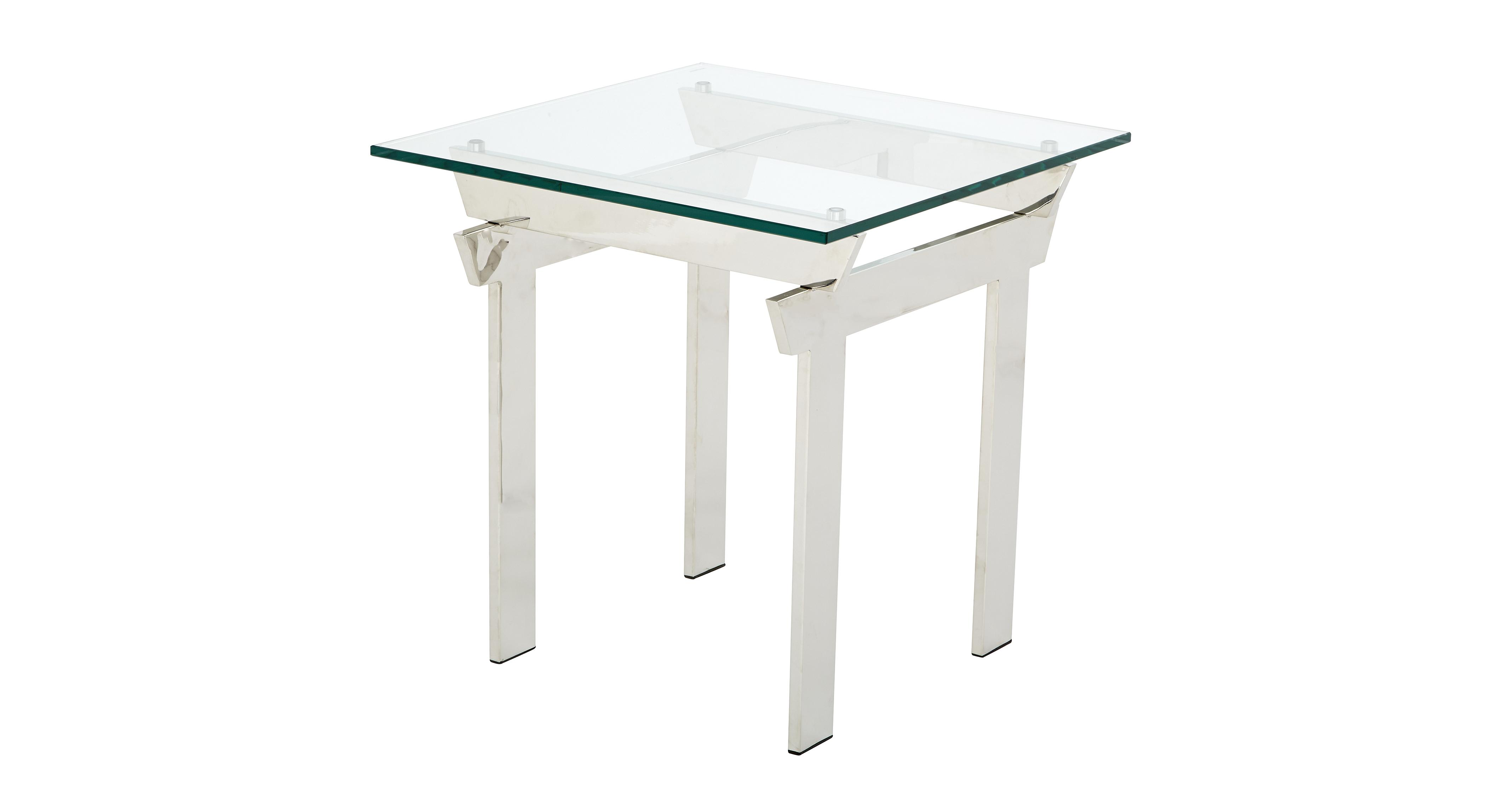 Pagoda lamp table polished steel and glass dfs for Lamp table dfs