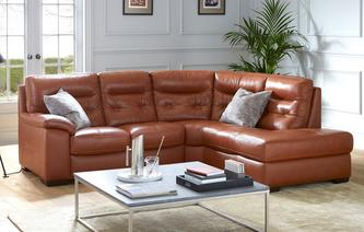 Paradise Leather and Leather Look Left Hand Facing Arm 2 Piece Corner Sofa Brazil with Leather Look Fabric