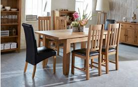 Parker Extending Dining Table & Set of 4 Slat Back Chairs Parker Oak