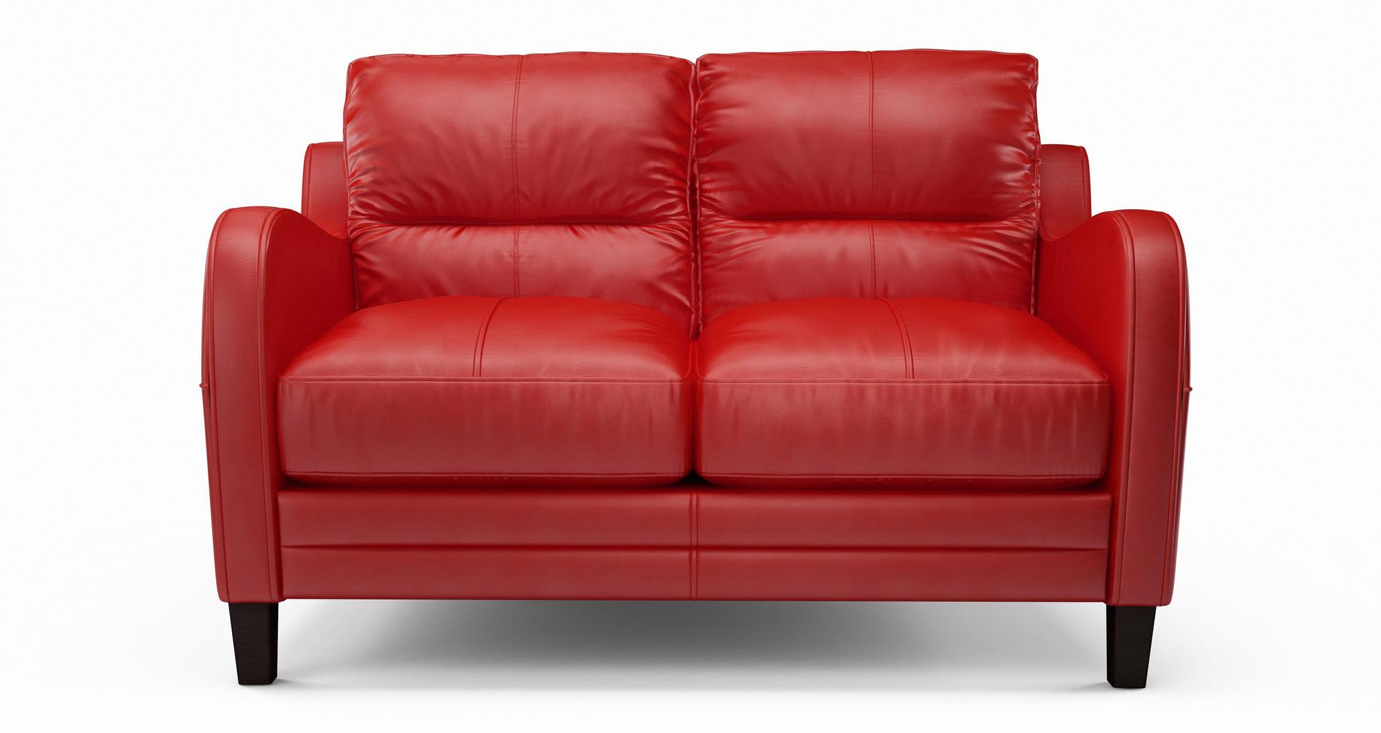 DFS Perk Red Leather Furniture Set Inc 2 Seater Sofa