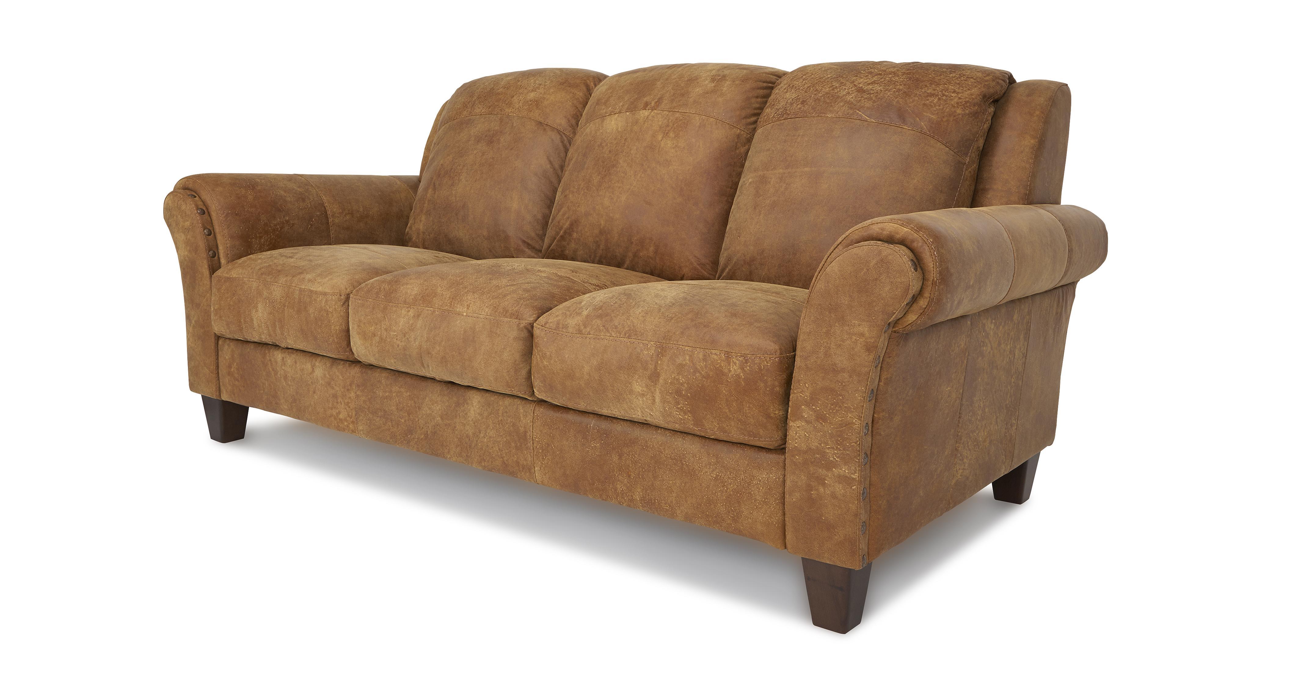 DFS Peyton Ranch Leather Sofa Set Inc 3 Seater, 2 Seater U0026 Storage Pouffe
