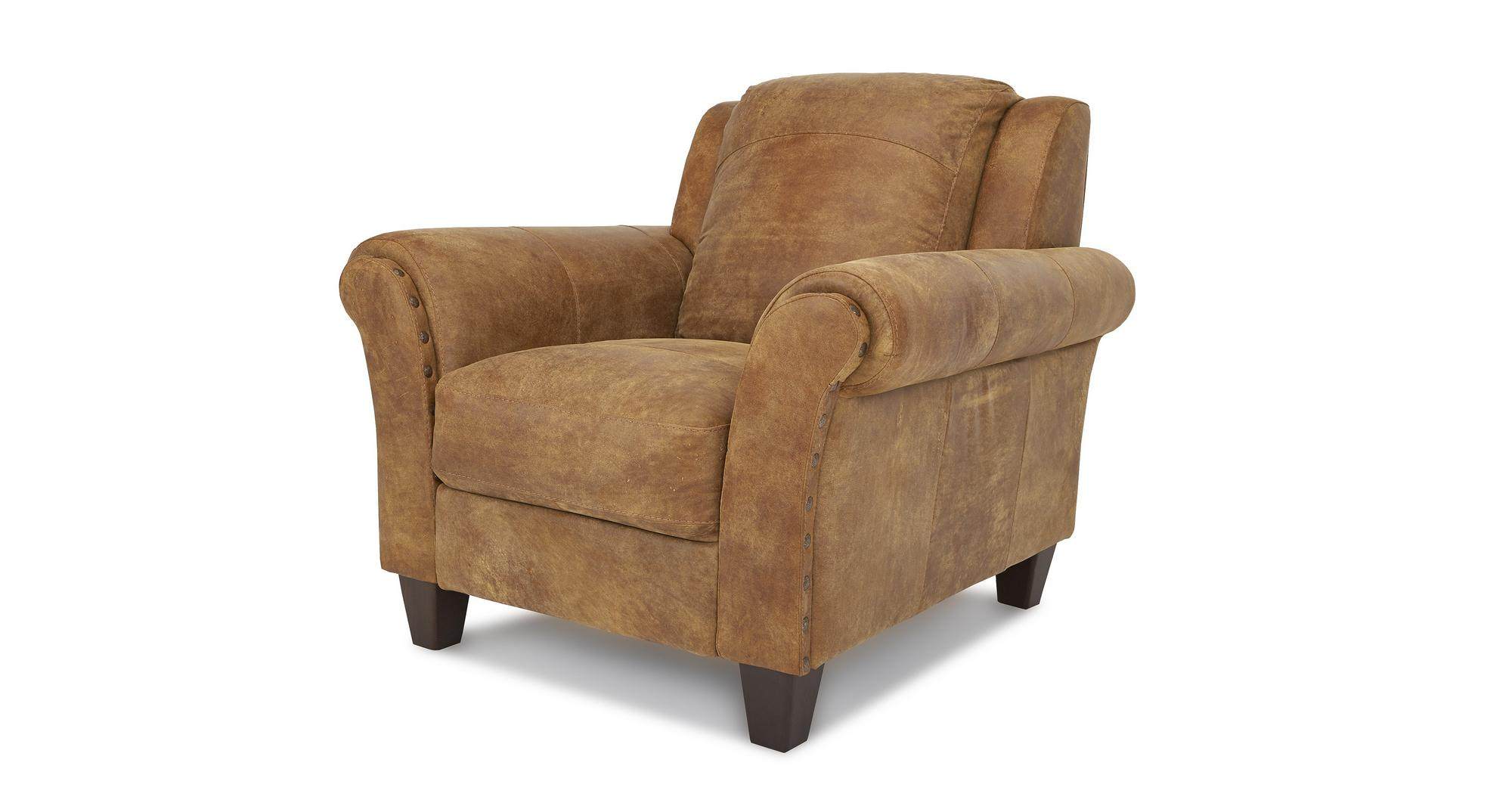 DFS Peyton Ranch Natural Leather 3 Seater Sofa & Armchair ...