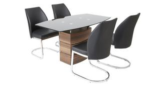 Phoenix Fixed Dining Table and 4 Chairs