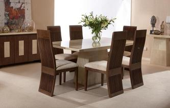 Plato Rectangular Table and Set of 4 Columbia Chairs Plato Marble