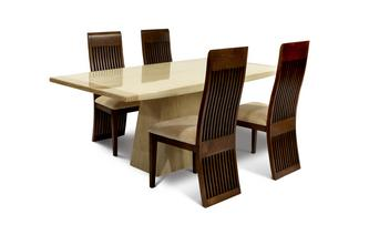Rectangular Table and Set of 4 Columbia Chairs Plato Marble