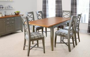 Quay Rectangular Extending Table & Set of 4 Cross Back Chairs Quay