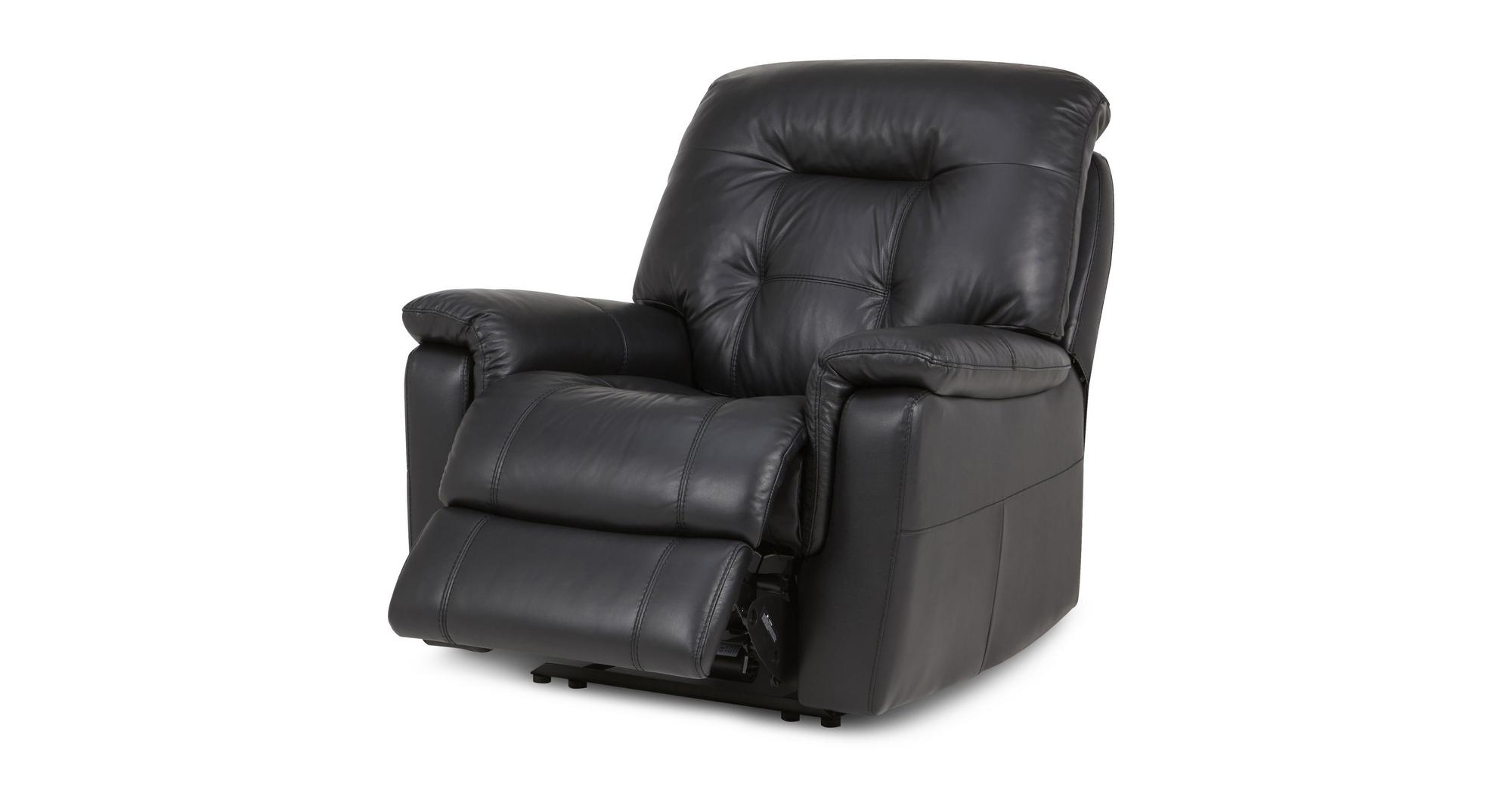 Dfs Quest Black Leather Recliner Set 3 Seater 2 Seater