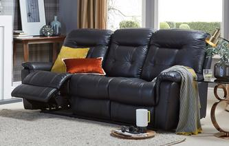 Quest Leather and Leather Look 3 Seater Manual Recliner Premium